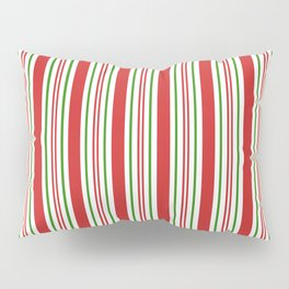 Red Green and White Candy Cane Stripes Thick and Thin Vertical Lines, Festive Christmas Pillow Sham