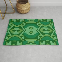 Geometric Aztec in Forest Green Rug