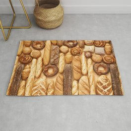 Bread baking rolls and croissants background Rug