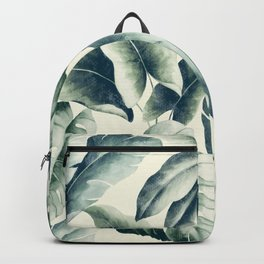 Green palm leaf pattern Backpack