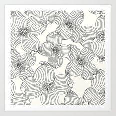 Dogwood Floral Linear: Black Ivory Art Print