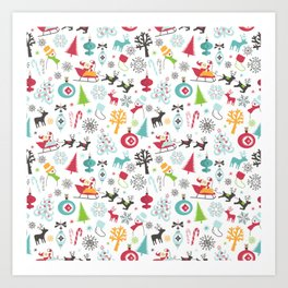 Retro Santa Holiday Christmas Pattern Art Print