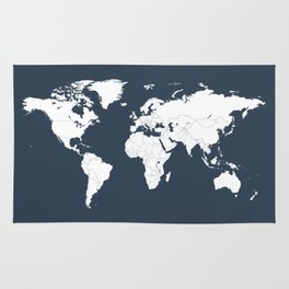 Minimalist World Map in Navy Blue Rug