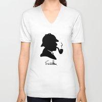 conan V-neck T-shirts featuring World's Greatest Detective by Irina Chuckowree