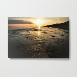 Sunset on the beach at low tide Metal Print