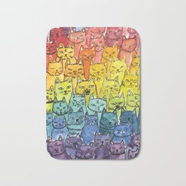 the pride cat rainbow  squad Bath Mat