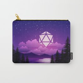 D20 Dice Moon Over Clouds Purple Night Tabletop RPG Landscape Carry-All Pouch