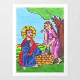 Jesus and the samaritan woman Art Print