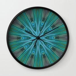 Green Peacock Feather Mandala - Kaleidocope Art by Fluid Nature Wall Clock