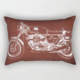 2010 Moto Guzzi V7 Clubman Racer red blueprint Rectangular Pillow