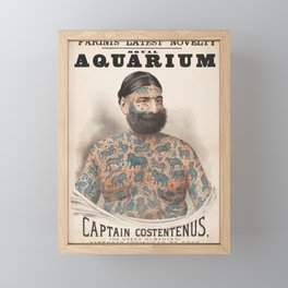 Vintage Tattoo Print of Captain Costentenus Framed Mini Art Print