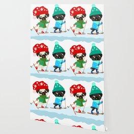 Pug Buddies on a Winter Walk Wallpaper