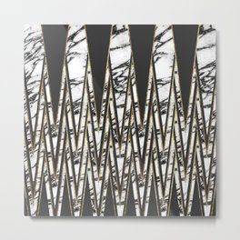 Modern Long Marble Gold and Black Triangles Metal Print