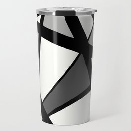 Geometric Line Abstract - Black Gray White Travel Mug