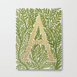 Botanical Metallic Monogram - Letter A Metal Print
