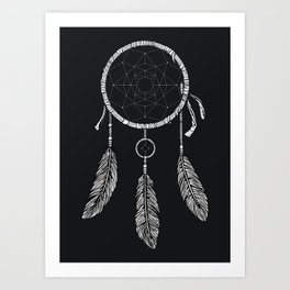 Dream Catcher White Art Print