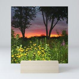Sunset Over a Wildflower Field Mini Art Print