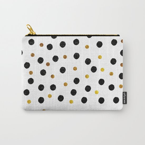 Black & Gold Glitter Confetti on white background- Elegant pattern Carry-All Pouch