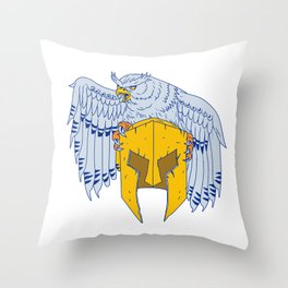 Horned Owl Clutching Spartan Helmet Drawing Throw Pillow