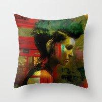 british Throw Pillows featuring Under a British rain by Ganech joe