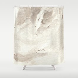 Clear Quartz Crystal Watercolor Shower Curtain