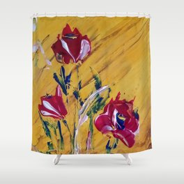 Red Poppies in a Vase Shower Curtain