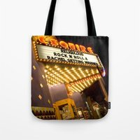 cinema Tote Bags featuring Sidewalk Cinema by Stacey Cat
