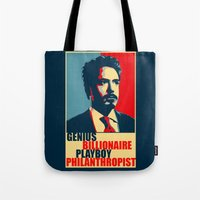 robert downey jr Tote Bags featuring Robert Downey Jr - The Legend by Mental Activity