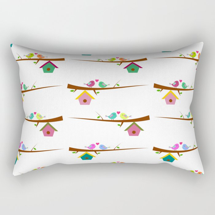Birds on branches in spring Rectangular Pillow