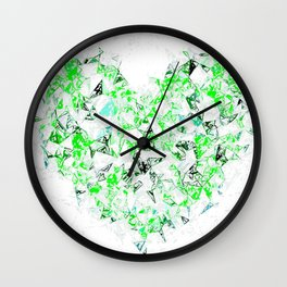green heart shape abstract with white abstract background Wall Clock