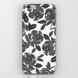 Grey Inky Watercolor Flowers iPhone Skin