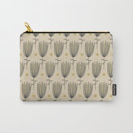 Bergamo Flowers and Suns - Midcentury Modern Floral Dot Pattern in Retro Gray, Mustard Yellow, and Beige Carry-All Pouch