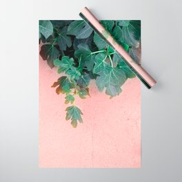 Pink Green Leaves Wrapping Paper