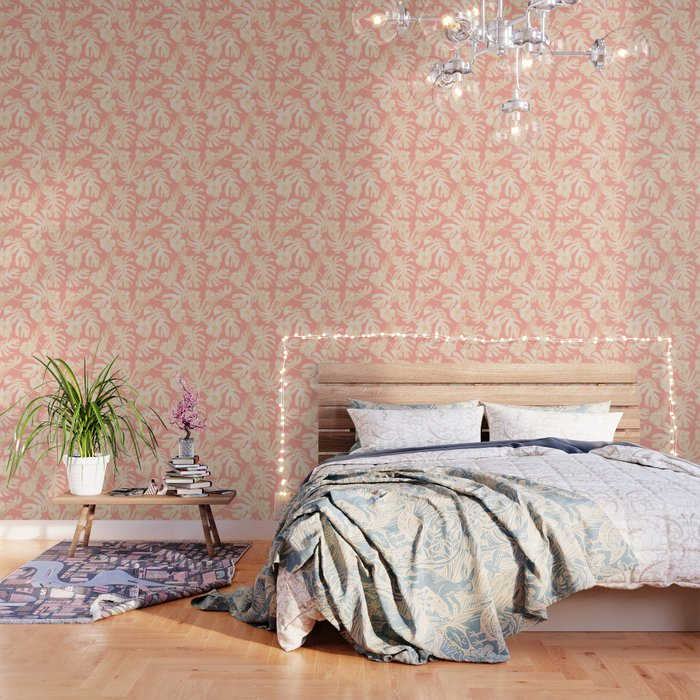 Pretty Pink and Coral Topical Monstera Pattern Wallpaper