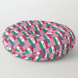 Mix of flag : mexico and usa Floor Pillow