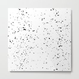 Black and White Spilled Ink Splatter Splashes Speckles Metal Print
