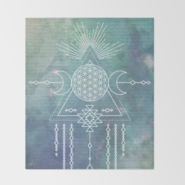 Mandala Flower of Life in Turquoise Stars Throw Blanket