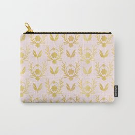Luxe Rose Gold Foil Floral Lattice Seamless Vector Pattern, Drawn Damask Carry-All Pouch