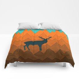 Deer silhouette in autumn Comforters