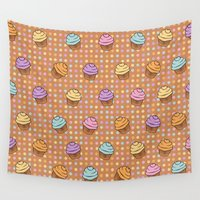 cupcakes Wall Tapestries featuring Pastel Cupcakes by Alisa Galitsyna