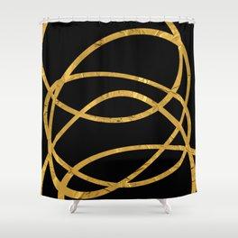 Golden Arcs - Abstract Shower Curtain