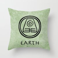 the last airbender Throw Pillows featuring Avatar Last Airbender Elements - Earth by bdubzgear