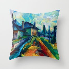 Village in the Countrside, colorful landscape painting by Kmetty János  Throw Pillow
