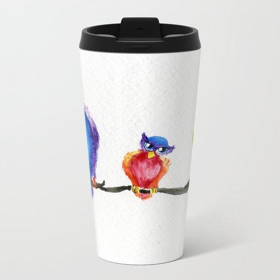 Little Rainbow Owls Metal Travel Mug