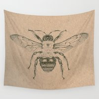 bee Wall Tapestries featuring Bee by Morgan Ofsharick - meoillustration