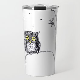 owl in the moonlight under the stars too big for his little tree Travel Mug
