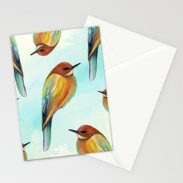 Watercolor Bird Pattern - Multicolor Feathers - Abstract Blue Sky Stationery Cards