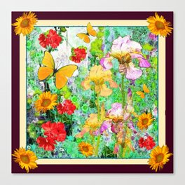 YELLOW IRIS BUTTERFLY SPRING GARDEN BURGUNDY TRIM Canvas Print