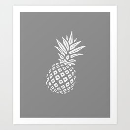Grey Pineapple Paradise Art Print