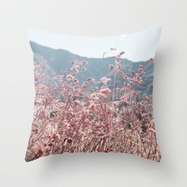 California Pink Flowers Throw Pillow